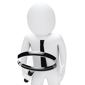 Businessman hold and look chrome magnifying glass